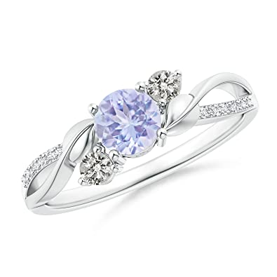 Angara Aquamarine and Diamond Twisted Vine Ring nZjLPu30Kg