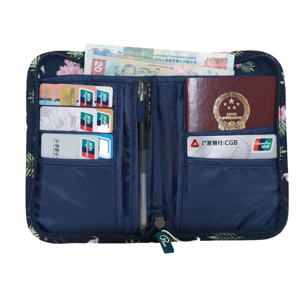 Flamenco-Azul Marino Travel Wallet Passport Holder Travel Document Orgnazier with Zipper and Strap Durable Nylon for Women//Men//Family//Traveling