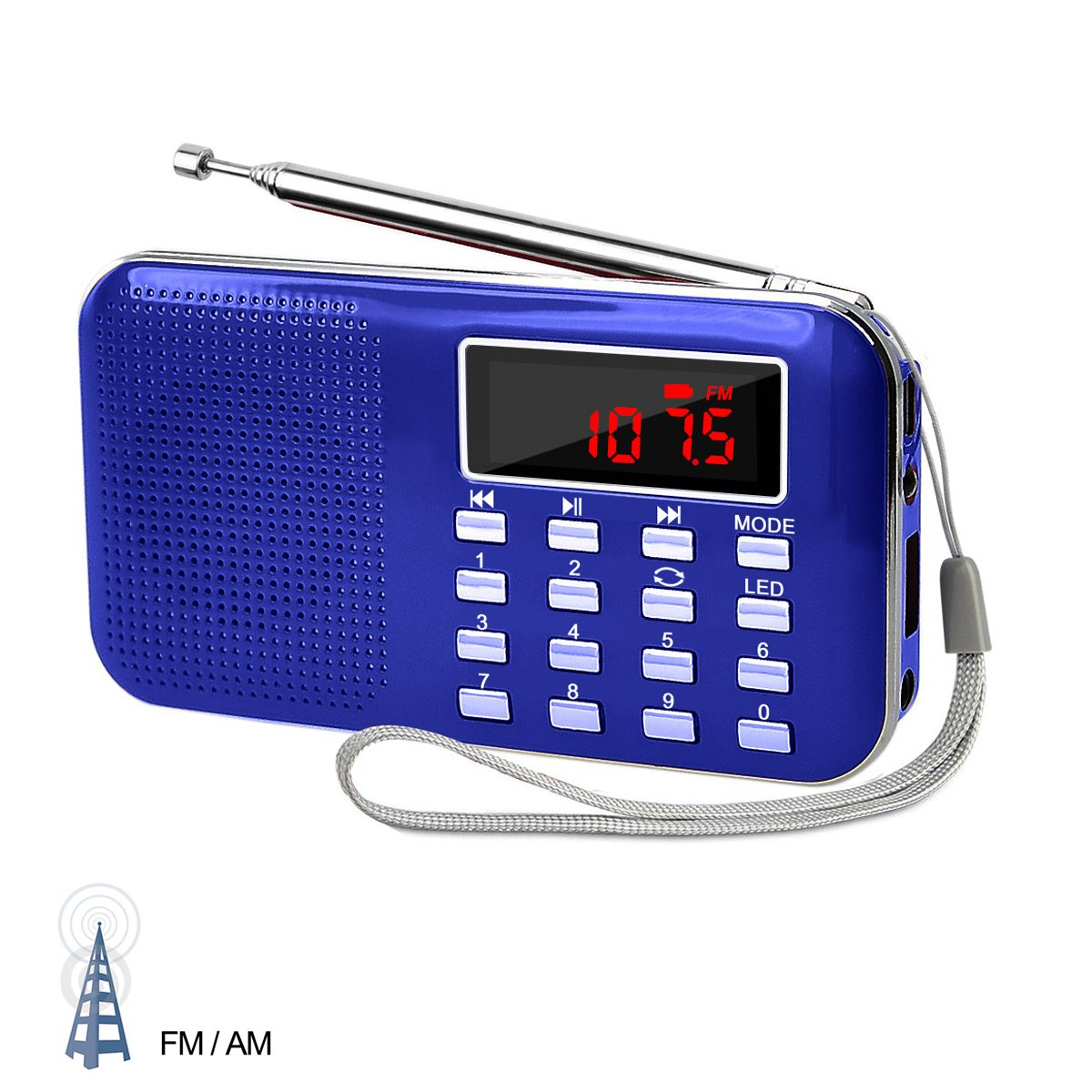 LEFON Mini Digital AM FM Radio Media Speaker MP3 Music Player Support TF Card/USB Disk with LED Screen Display and Emergency Flashlight Function (Blue-Upgraded) by Lefon