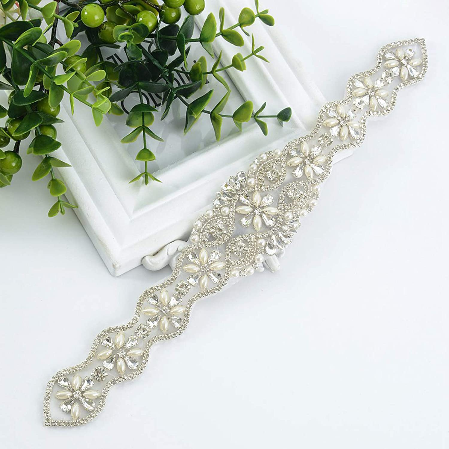 Prettyia 1Yard 30mm Rhinestone Applique Iron on Trim Wedding Belt Sash Dress