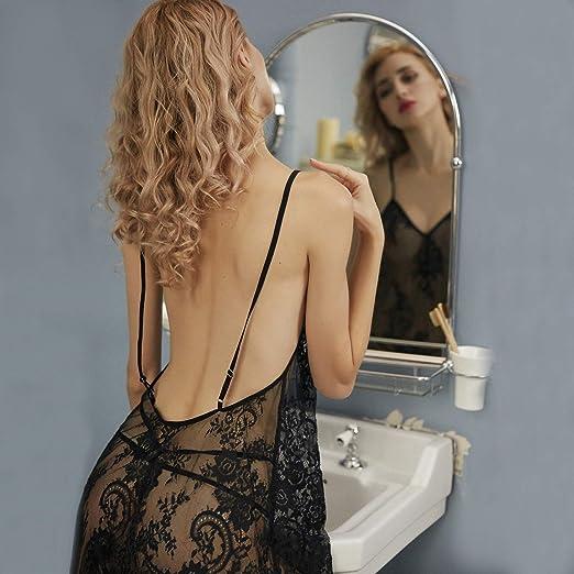 Sexy Pijamas Encaje de Tul de Las Mujeres Sling Transparente Falda ...