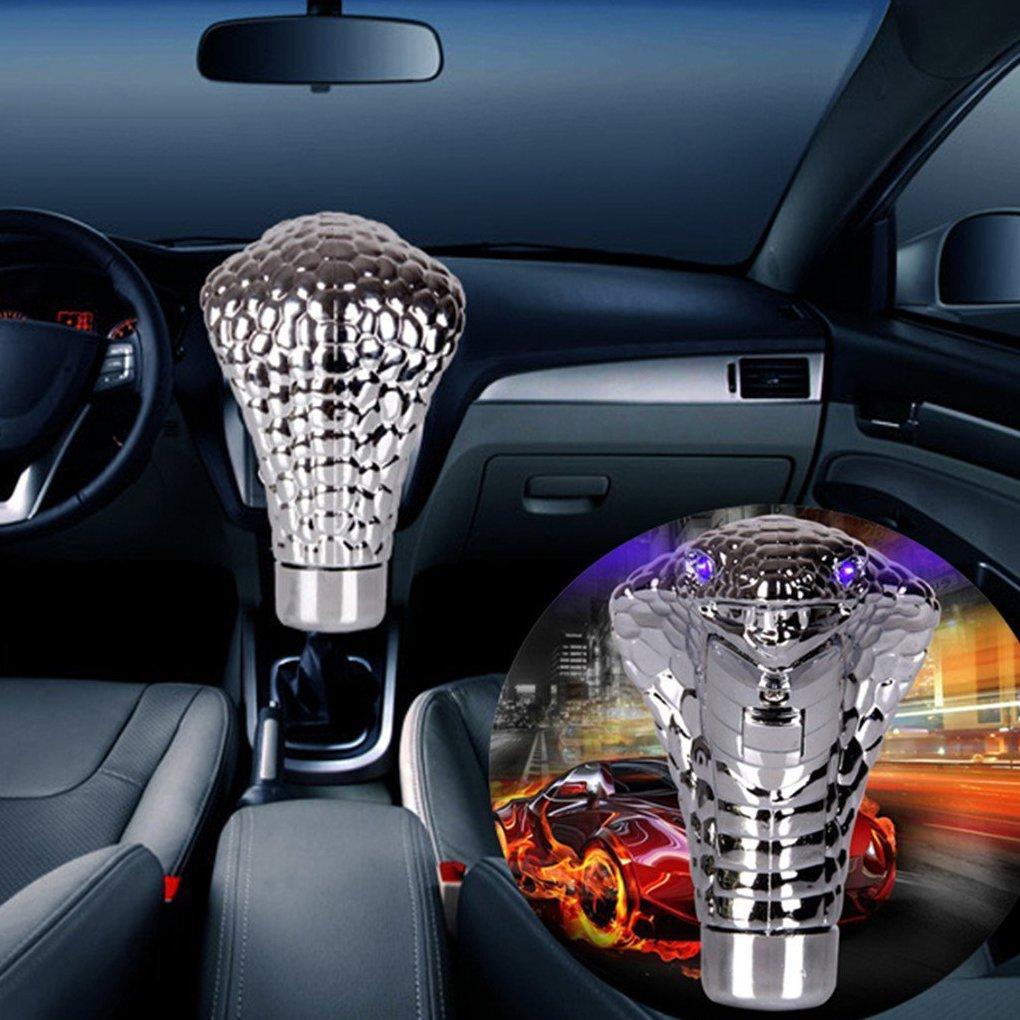 Meisijia Voiture t/ête de serpent ABS POMMEAU voiture activ/é par le mouvement manuel Shifter LED poign/ée automatique Changement de vitesse Bouton