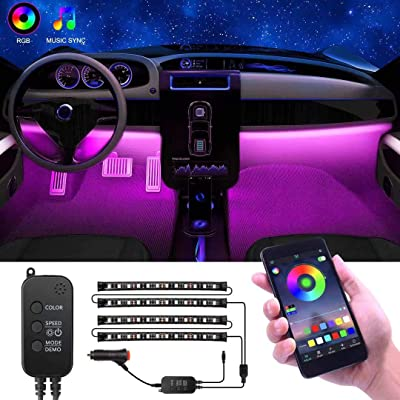 Interior Car Lights, YLCVBUD 4pcs RGB Car LED Strip Lights Waterproof APP Control 48 LED Multi Lighting Kits, Sync to Music Car Lighting + DC 12V Car Charger: Automotive