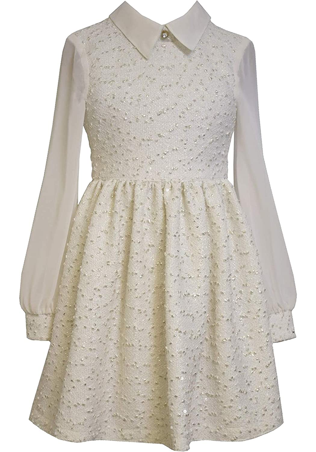 Vintage Style Children's Clothing: Girls, Boys, Baby, Toddler Little Girls 2T-6X Ivory/Gold Foil Knit Boucle Chiffon Sleeves Dress $42.99 AT vintagedancer.com