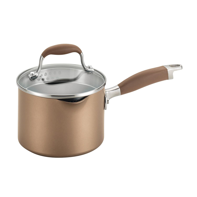 Anolon Advanced Bronze Hard-Anodized Nonstick 2-Quart Covered Straining Saucepan with Pour Spouts, Bronze