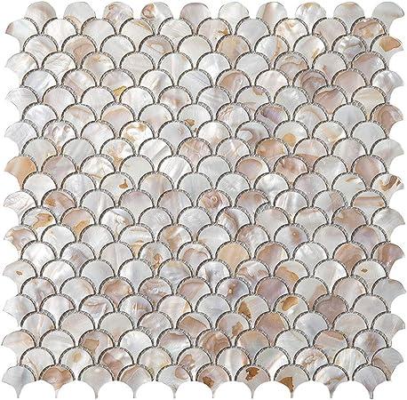 10 Sheets Genuine White Fish Scale Mother of Pearl Mosaic Tile for Bathroom//Kitchen//Spa//Fireplace//Shower Backsplash Tile
