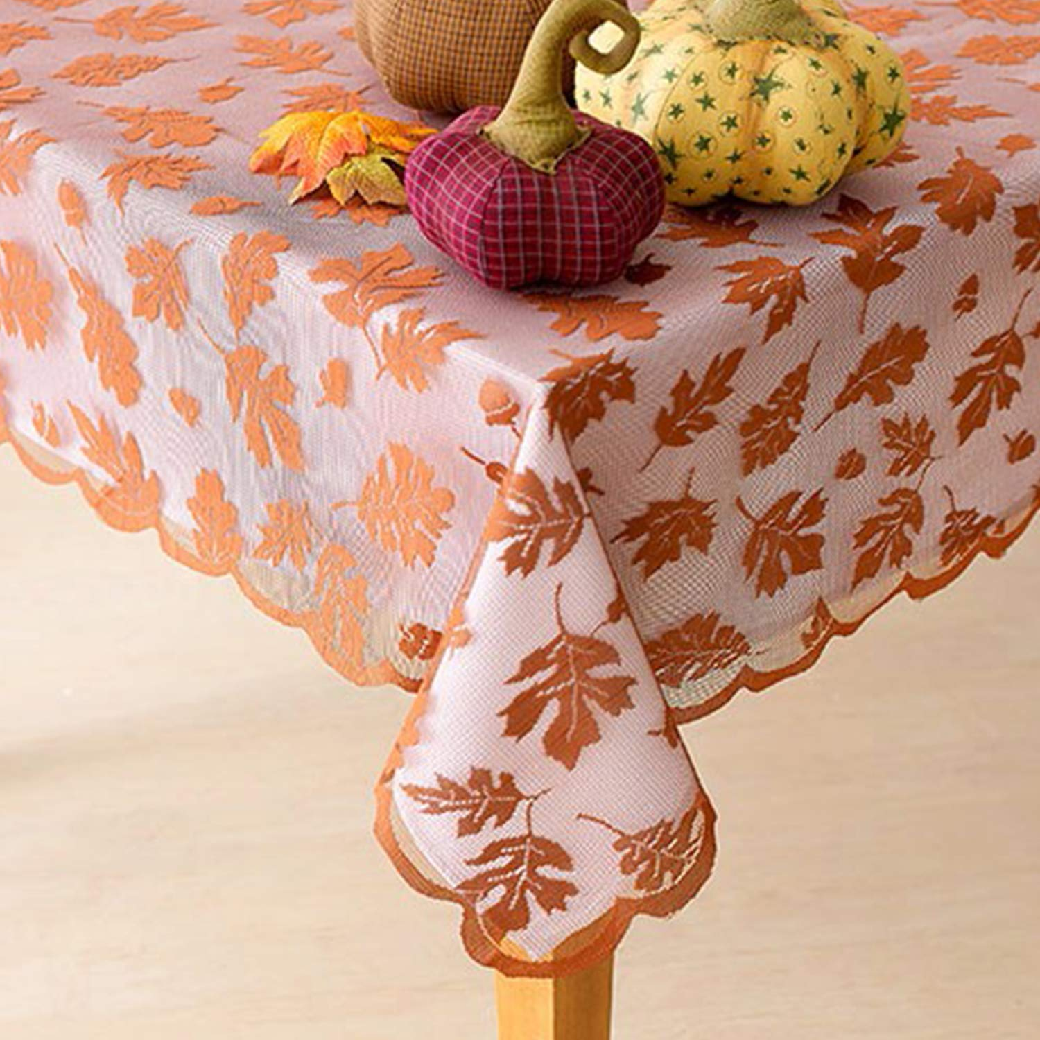 Thanksgiving Tablecloth 52 x 70 Inch Maple Leaves Brown Lace Rectangle Table Cover Party Dining Table Living Room Bedroom Kitchen Indoor Party Favor Harvest Festival Gift Halloween Fall Decor Yardom