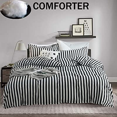 Jumeey Black and White Comforter Set Queen Vertical Striped Comforter Bedding Full White and Black Stripes Comforter Sets Men Women Teen Warm Blanket Queen Size 3 Pieces Geometric Bedding Sets Full: Home & Kitchen