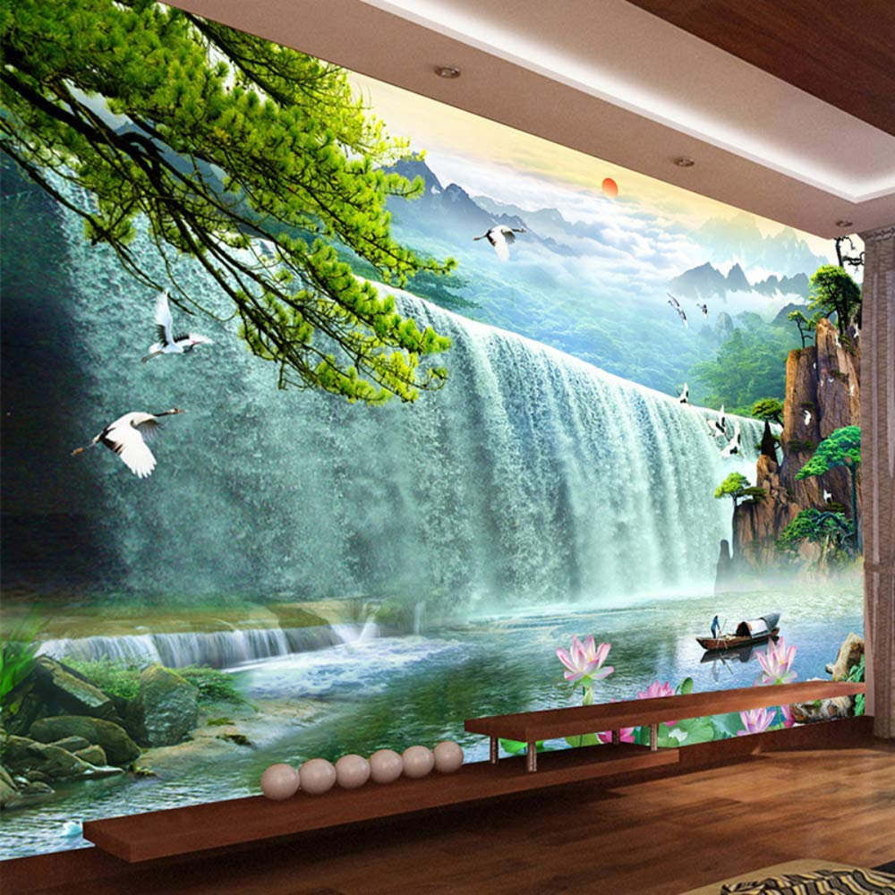 Pbldb 3D Waterfalls Nature Scenery Mural Wallpaper Living Room Tv Sofa Study Background Wall Paper Home Decor-350X250Cm by Pbldb (Image #2)