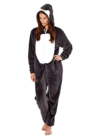Ladies Novelty Penguin Hooded Onesie   Onezee   All In One   Pyjama (Small) 46e72763f