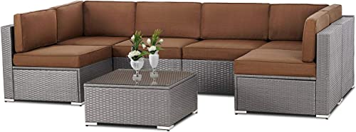 Patiomore 7 Pieces Outdoor Patio Grey Wicker Furniture Set, Washable Seat Cushions with YKK Zippers and Tempered Glass Table,Coffee Brown Cushion