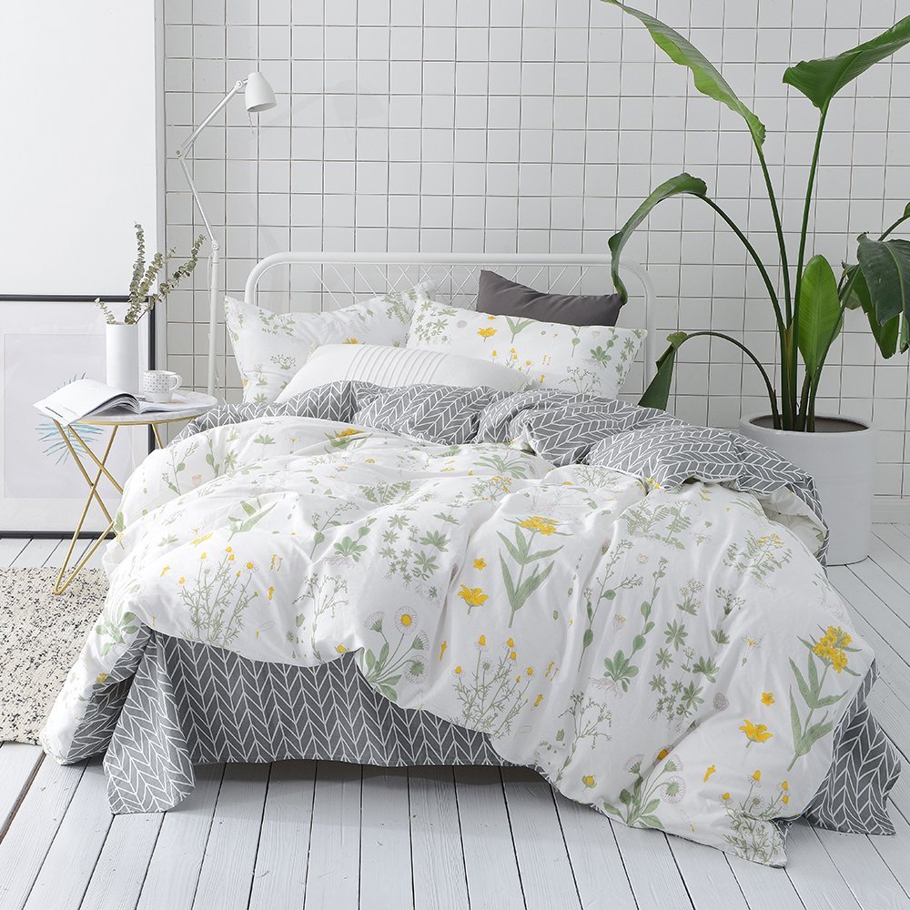 VClife Cotton Twin Bedding Sets Floral Kids Duvet Cover Sets Reversible Geometric Bed Duvet Cover Sets Kids Flower Home Bedding Comforter Cover Sets, Zipper Closure Corner Ties, 3 PCS Sets, Twin by VClife