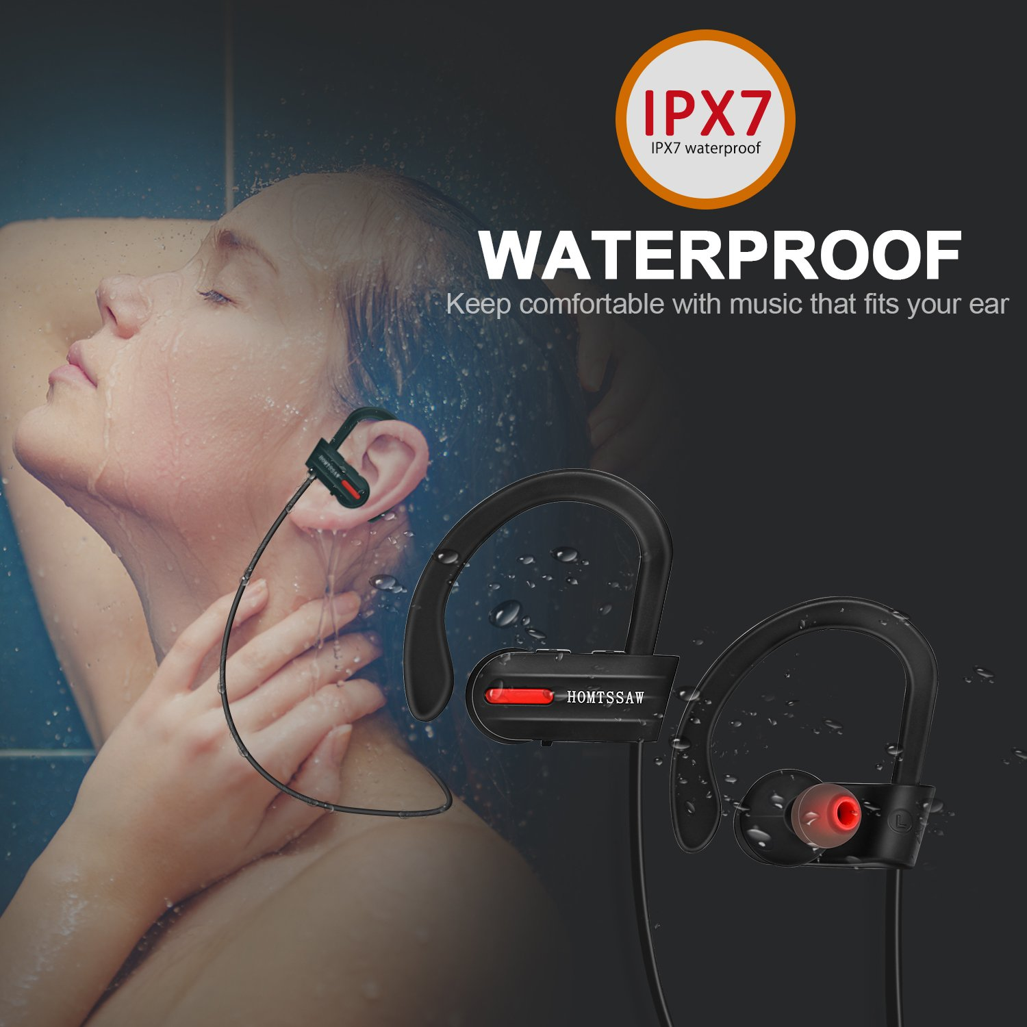Wireless Bluetooth Headphones In Ear Earbuds-IPX7 Waterproof Sports Cordless 4.1 Earphones with Built in Mic & CVC 6.0 Noise Cancelling Technology for iPhones & Android Smartphones, Black