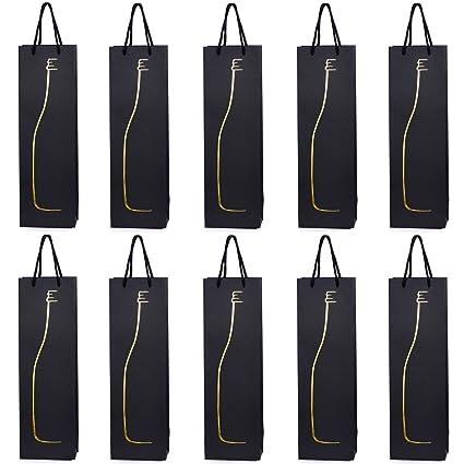 10 bolsas para botellas, bolsas de regalo para vino, prosecco y champán 40 x 12 x 9 cm - Silueta