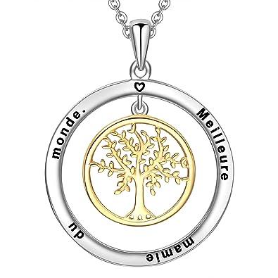 cadaceb0d3388 LOVORDS Collier Femme Gravé en Argent 925/1000 Pendentif Cercle et Arbre de  Vie Cadeau