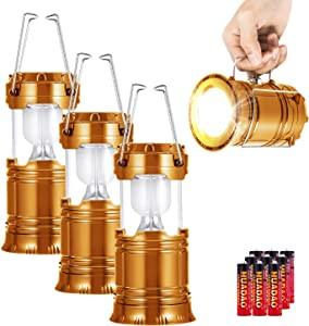 3 Pack LED Camping Lantern, Super Bright Portable Survival Lanterns, Must Have During Hurricane, Emergency, Storms, Outages, Original Collapsible Camping Lights/Lamp (Incl. Batteries) (Gold)