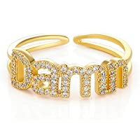 EXGOX 18K Gold Plated Open Ring Hypoallergenic Cubic Zirconia Statement Ajustable Personalized Rings with Gift Box
