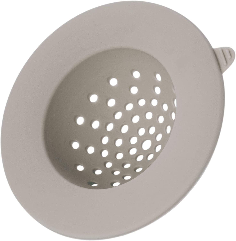 iDesign Silicone Strainer, Drain Protector, Trap Debris and Prevent Clogging for Kitchen and Bathroom Sinks, Gray