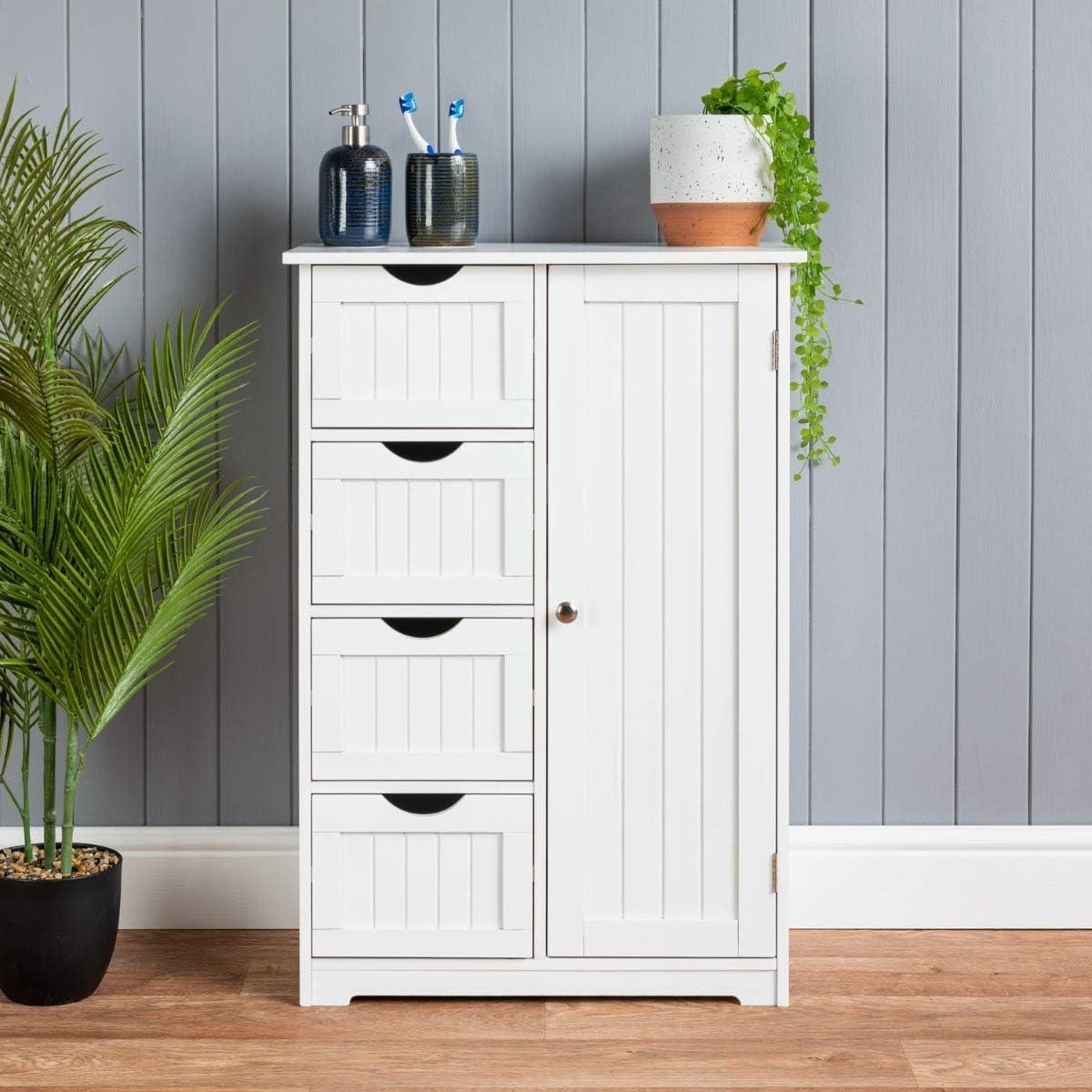 CHRISTOW Bathroom Cabinet Floor Standing, Wooden White 4 Drawer Storage Cupboard Unit With Shelf