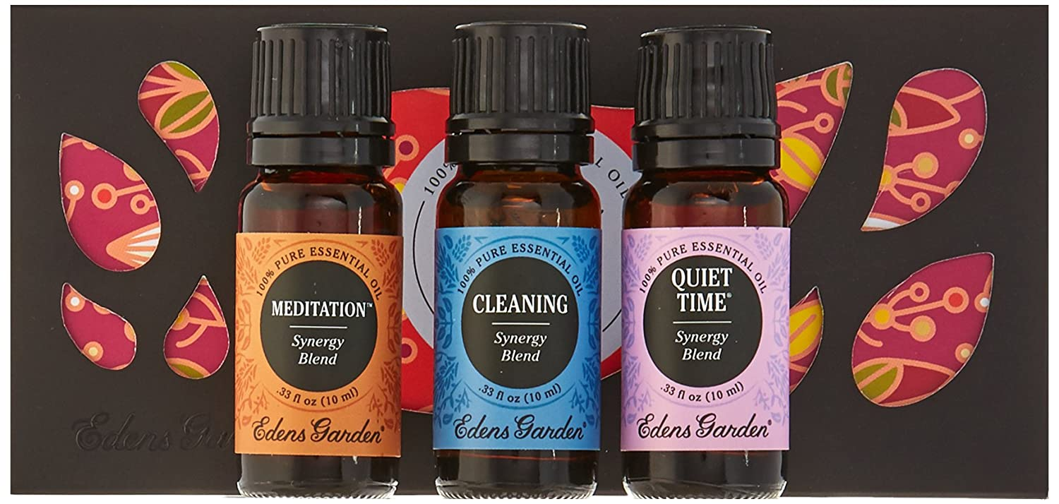 Amazon.com: Yoga Essential Oil Set- 100% Pure Therapeutic Grade Essential  Oils- 3/ 10 ml of Cleaning, Meditation and Quiet Time Synergy Blends by  Edens ...