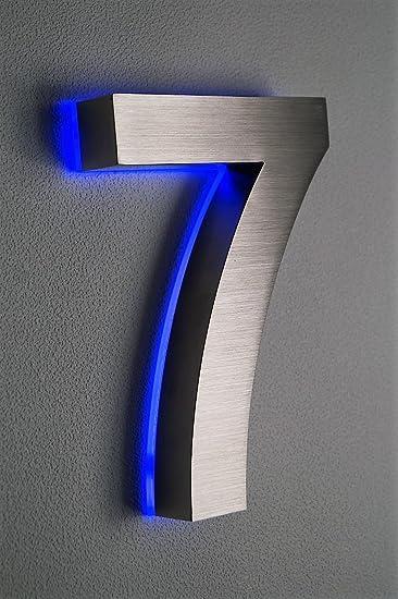 Hausnummer Beleuchtet hausnummer edelstahl nr 7 h18cm v2a beleuchtet led blau