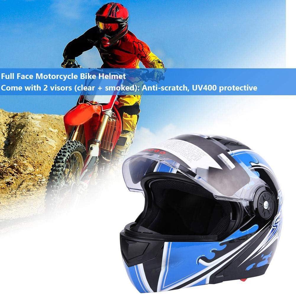 Universal Adult Full Face Motorrad Fahrrad Schutzhelm Doppellinse Antibeschlag Wakects Helm 2 Visieren klar + ger/äuchert