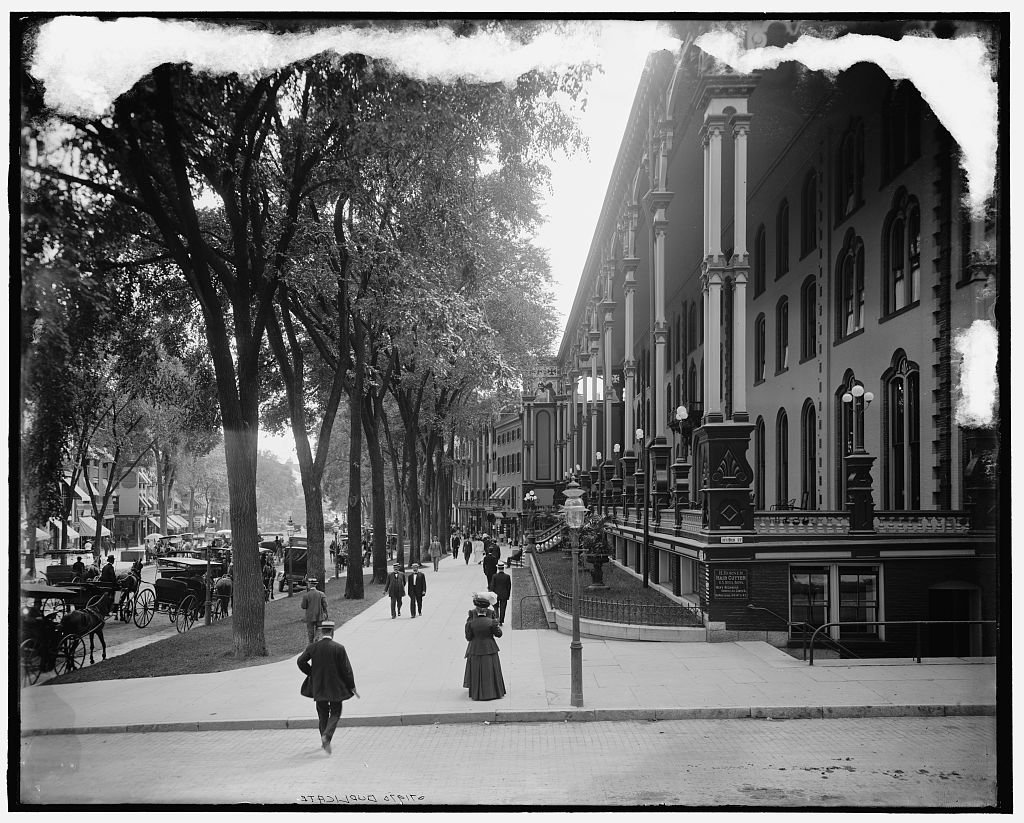 Vintography 24 x 30 Giclee Unframed Photo Saratoga Springs N Y Veranda United States Hotel 1910 Detriot Publishing co. 14a
