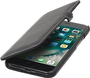 StilGut Book Type avec Clip, Housse iPhone 8 en Cuir élégant. Etui de Protection pour Apple iPhone 8 à Ouverture latérale avec Fermeture clipsée, Noir Nappa