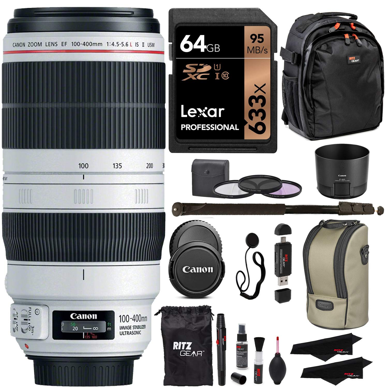 Canon EF 100-400mm f/4.5-5.6L is II USM Lens + Lexar 64GB U3 Memory Card + VidPro USB Reader/Writer + 62'' Monopod + 77mm 3 Piece Filter Set Kit + Polaroid Accessory Bundle by Canon