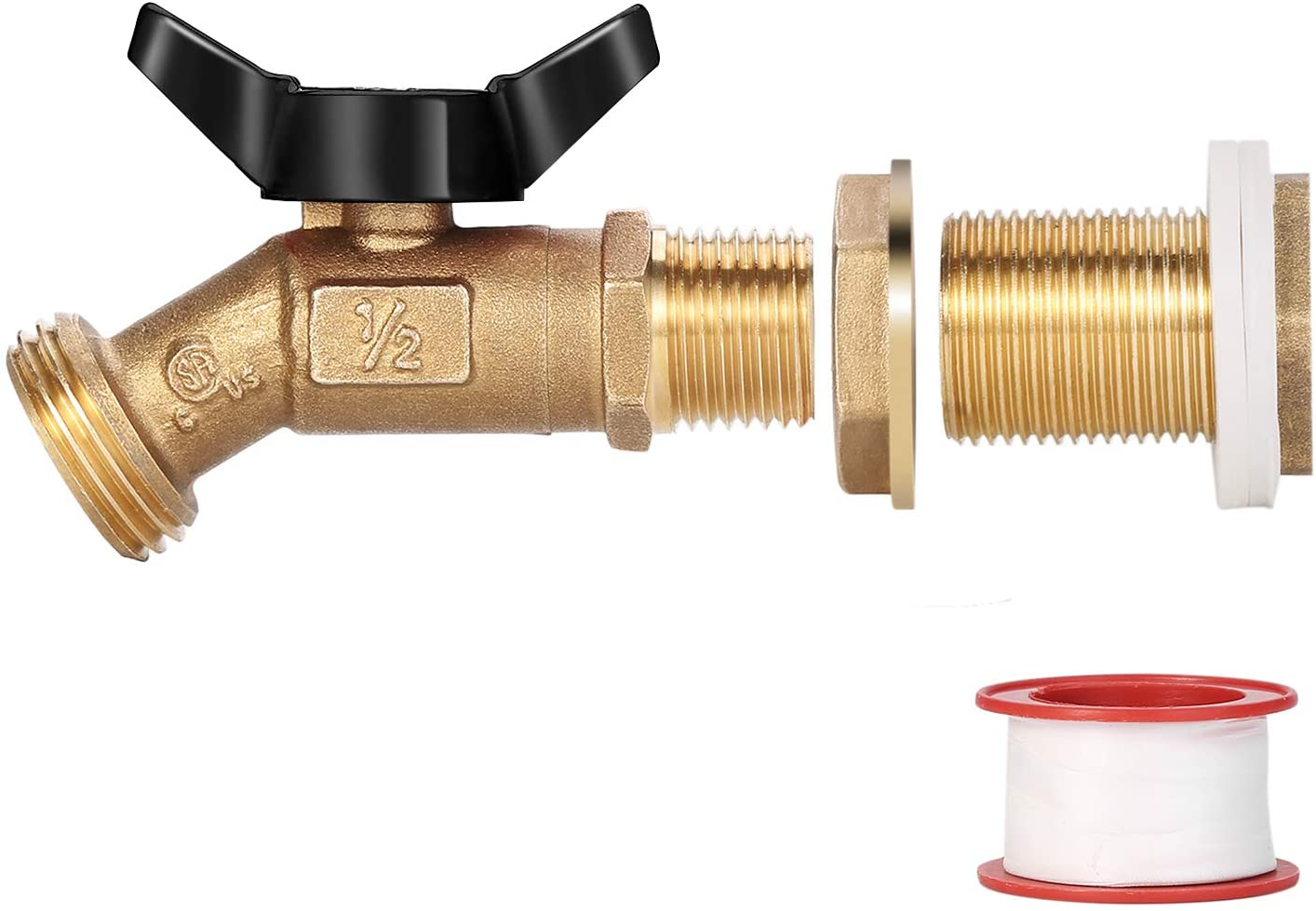 WADEO Brass Rain Barrel Spigot, Rain Barrel Quarter Turn Ball Valve Spigot with Bulkhead Fitting