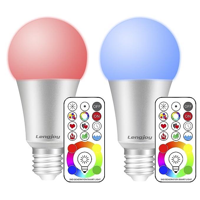 6 opinioni per Lengjoy 10W E27 Led RGB Lampadina,120 Colori RGB Dimmerabile Multicolore con IR