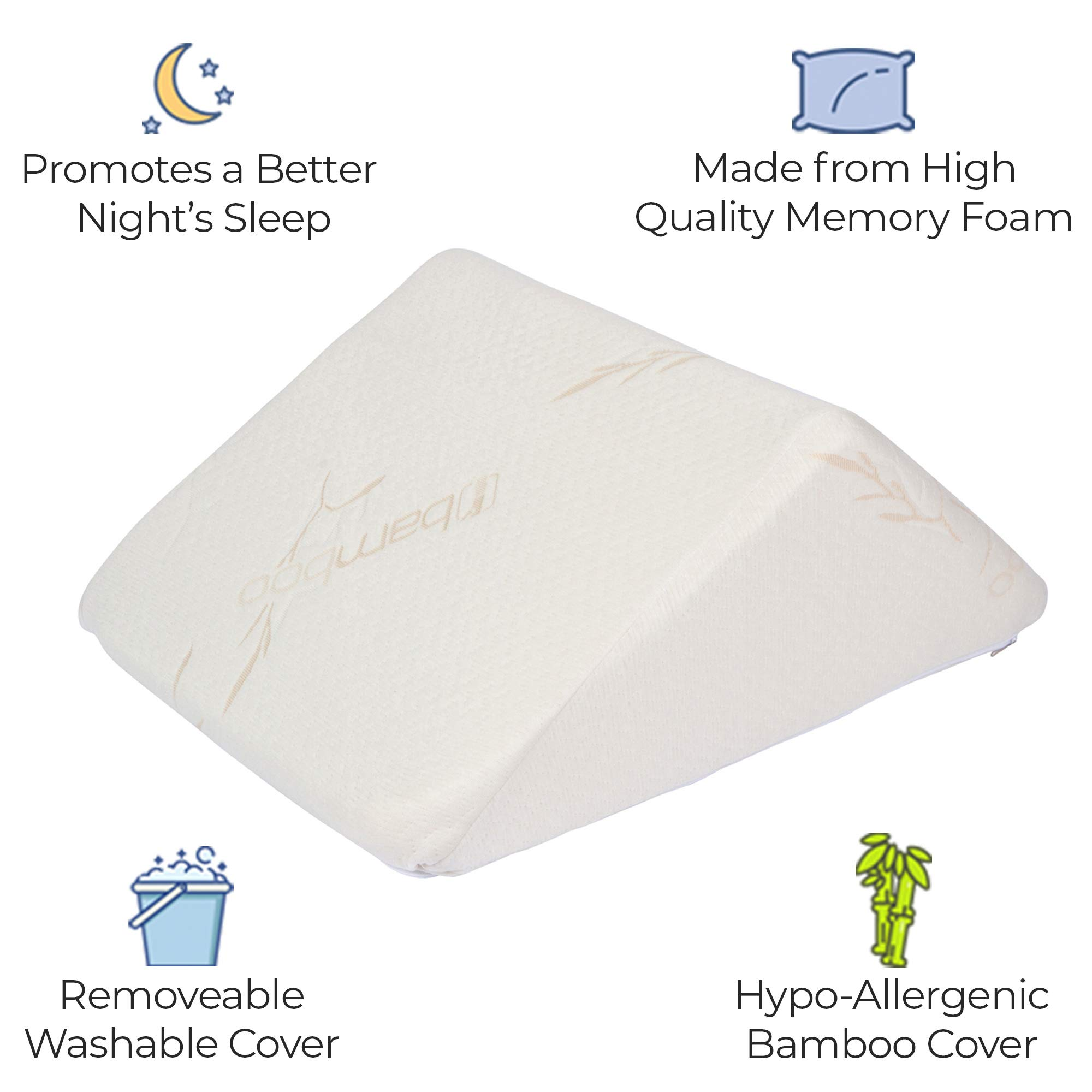 The Angle by Back Support Systems - Guaranteed to Help Reduce Back Pain Immediately. Eco Friendly, Medical Quality Memory Foam Bed Wedge Leg Pillow for Reducing Back Pain, Back Therapy and Sleeping by Back Support Systems (Image #2)