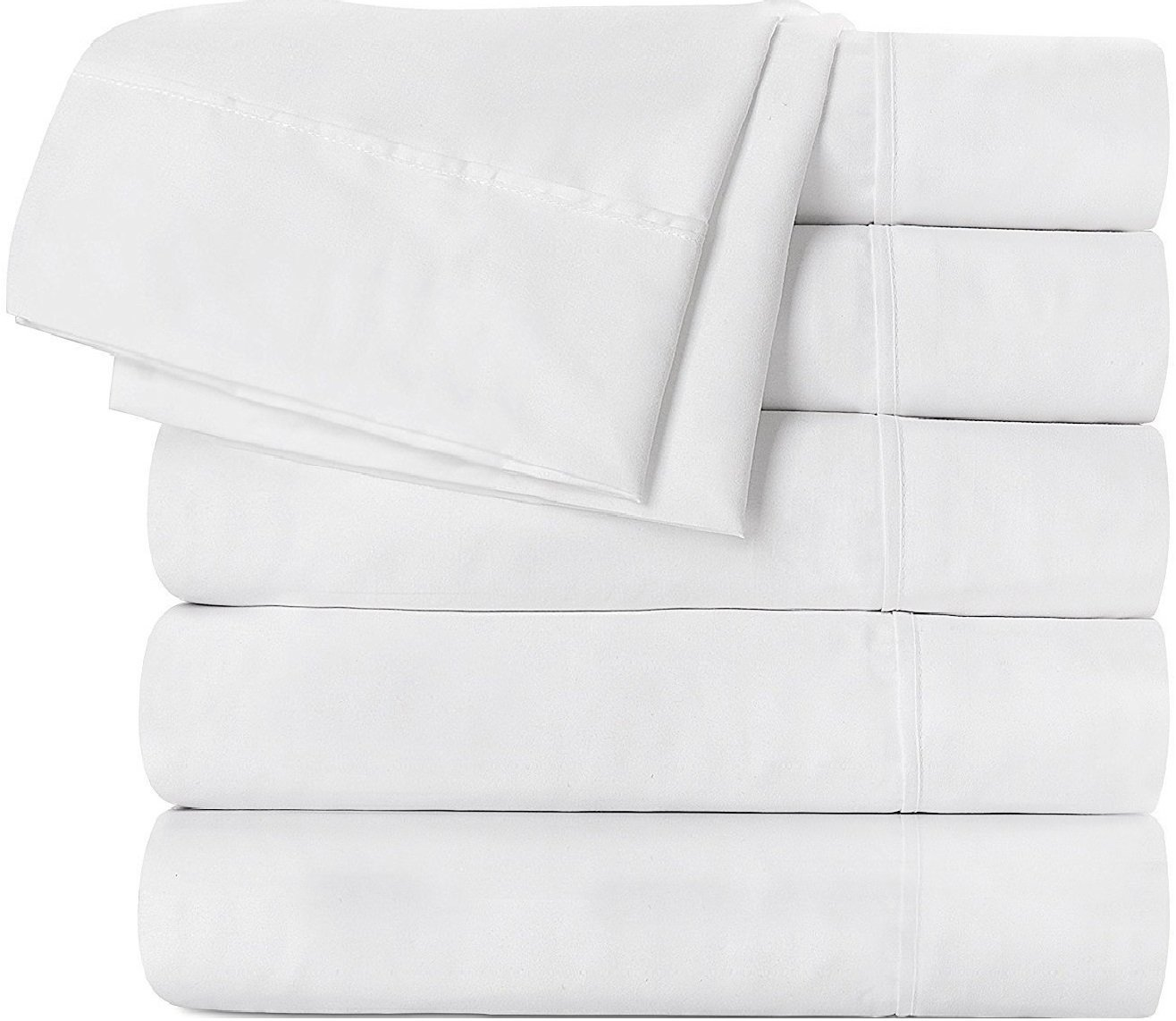Flat Sheet 6 Pack (Twin, White) Brushed Microfiber by Utopia Bedding