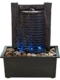 Shop amazon tabletop fountains pure garden indoor water fountain with led lights lighted waterfall tabletop fountain with stone wall workwithnaturefo