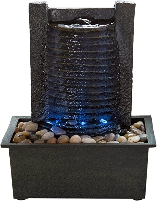 Amazon Com Indoor Water Fountain With Led Lights Lighted Waterfall Tabletop Fountain With Stone Wall And Soothing Sound For Office And Home Decor By Pure Garden Home Kitchen