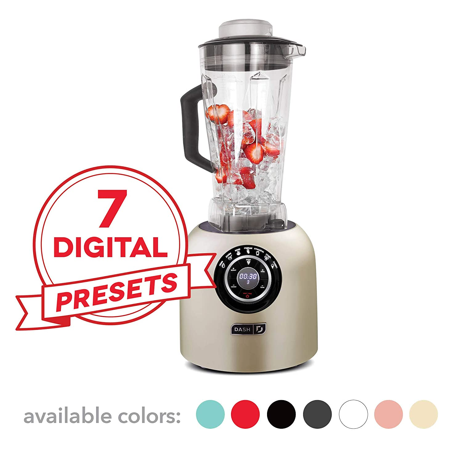Dash DPB500CH Chef Series Blender with Stainless Steel Blades Digital Display for Coffee Drinks, Frozen Cocktails, Smoothies, Soup, Fondue More, 64 oz, Champagne