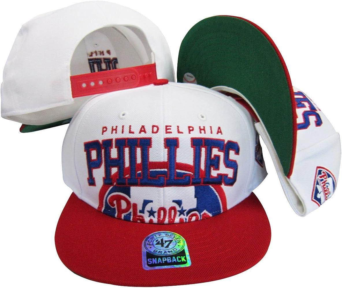Philadelphia Phillies Two Tone Big Logo Plastic Snapback Adjustable Plastic Snap Back Hat/Cap