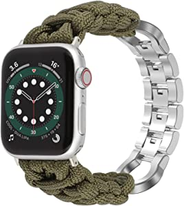 Moolia Paracord Band Compatible With Apple Watch 42mm 44mm for iWatch Series 6 5 4 3 2 1 SE, Men Handcrafted Braided Paracord Sport Replacement Strap With Stainless Steel Buckle, Green