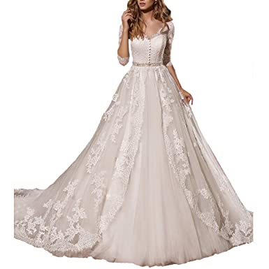 Fair Lady Women\'s Romantic Long Sleeves Lace Princess Ball Gown ...