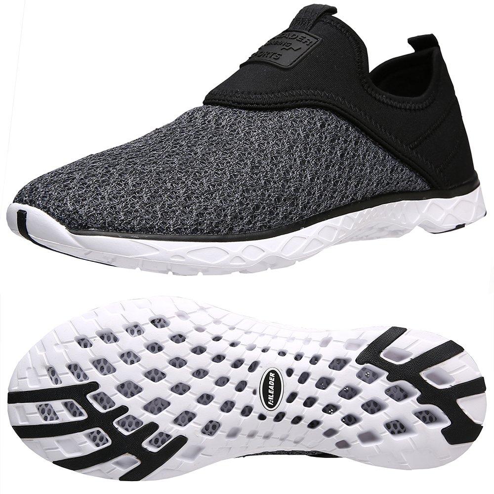 ALEADER Men's Slip-on Athletic Water Shoes Black/Gray 10 D(M) US by ALEADER