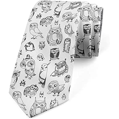 Corbata, diseño del búho, corbata del vestido, blanco negro ...