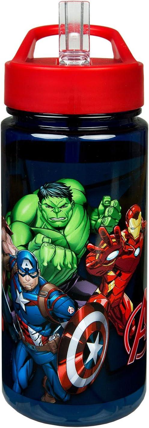 Scooli AVER9913 Aero - Botella de plástico con pajita integrada y boquilla para beber, Marvels The Avengers, libre de BPA y ftalatos, aprox. 500 ml