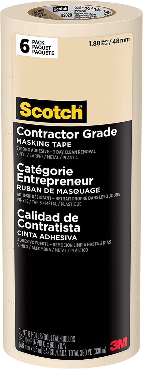 Scotch Contractor Grade Masking Tape, 1.88 inches by 60.1 yards (360 yards total), 2020, 6 Rolls - Painters Masking Tape -