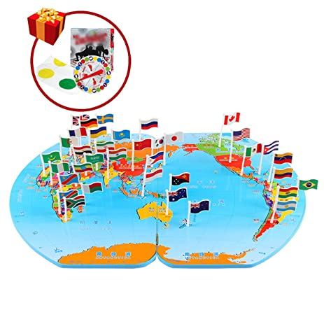 Amazon monique children wooden world map flag matching puzzle monique children wooden world map flag matching puzzle fun classic twister kids geography jigsaw puzzles gumiabroncs Images