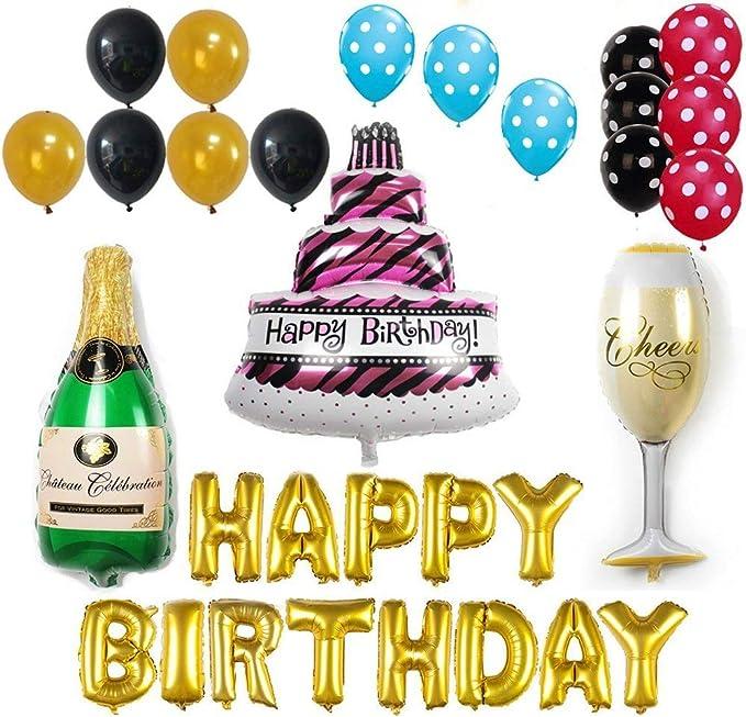 Amazon.com: ezing Tarta de cumpleaños, diseño con texto ...