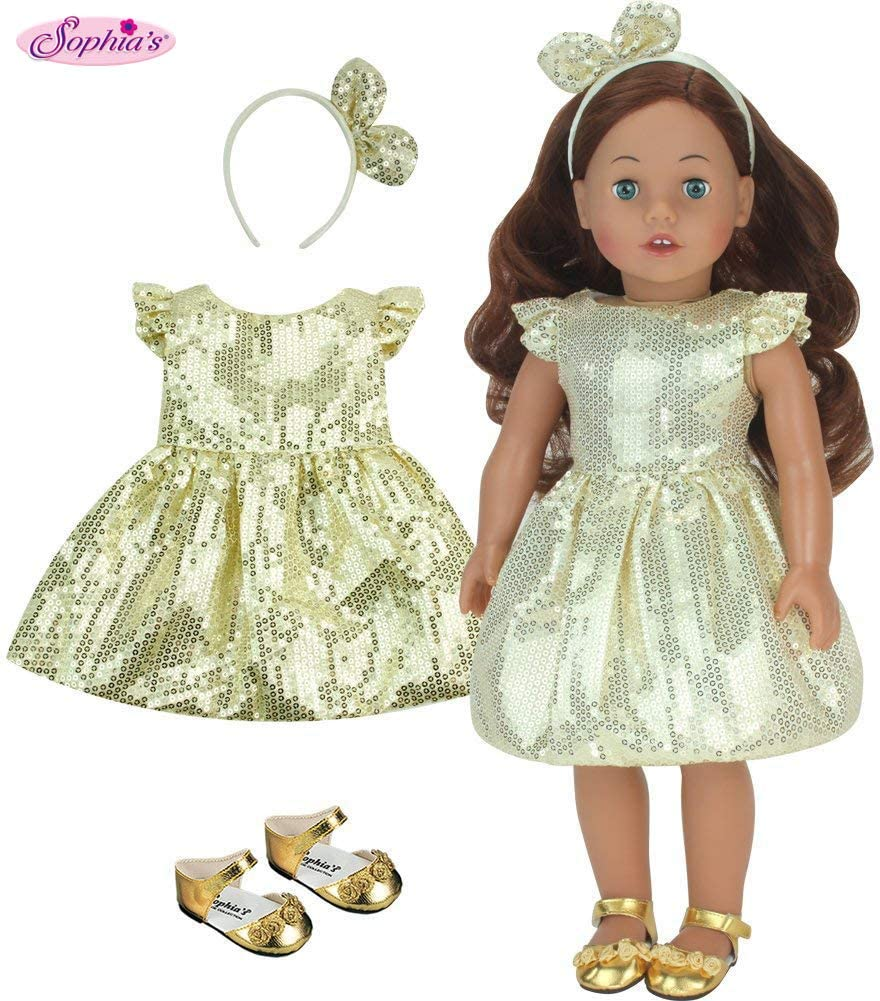"Gold Sequin Slip On Bow Shoes 18/"" Doll Clothes Fit American Girl"