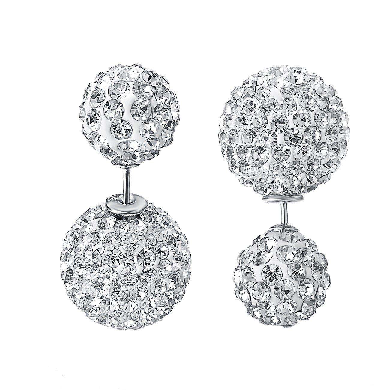 VOGEM Double Ball Earrings 18K White Gold Plated Cubic Zirconia Pierced Stud Earrings For Women TCE1040B12