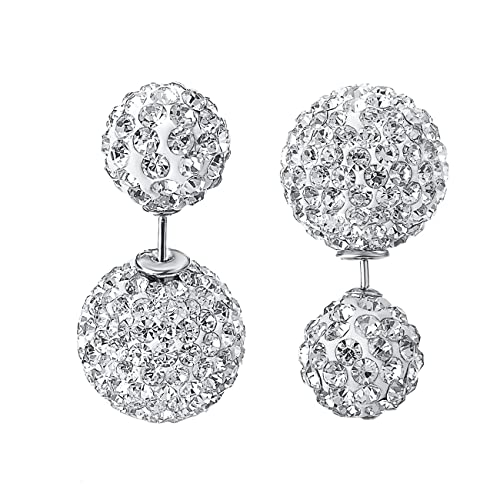 4afc6ac58 Amazon.com: VOGEM Double Ball Earrings Stud 18K White Gold Plated Cubic  Zirconia Pierced Studs Earrings For Women: Clothing