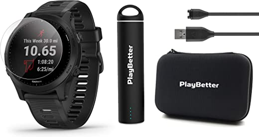 Garmin Forerunner 945 (Black) Power Bundle | +HD Screen Protectors (x4), PlayBetter Portable Charger & Protective Case | 2019 GPS Running Watch | Spotify/Music, Advanced Analytics, Maps, Garmin Pay