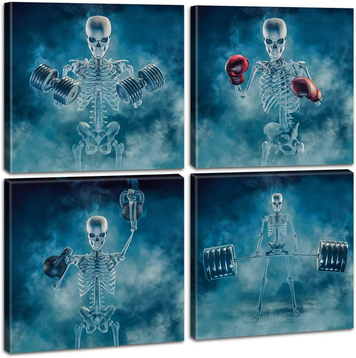 JiazuGo - Human Skull Wall Art Blue Horror Pictures Red Boxing Gloves Dumbbell Movement Gothic Painting Prints on Canvas Living Room Kitchen Home Decor 4 Panels Stretched and Framed Ready to Hang